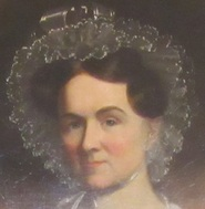 Detail of a portrait of Eliza Jumel that hangs at her former home, the Morris-Jumel Mansion.