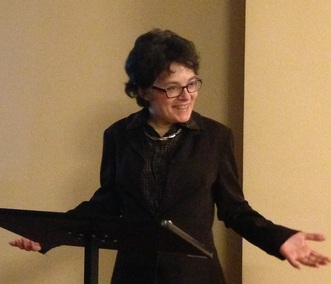 Photograph of Margaret Oppenheimer speaking at The Grinnell in New York City, February 17, 2017.