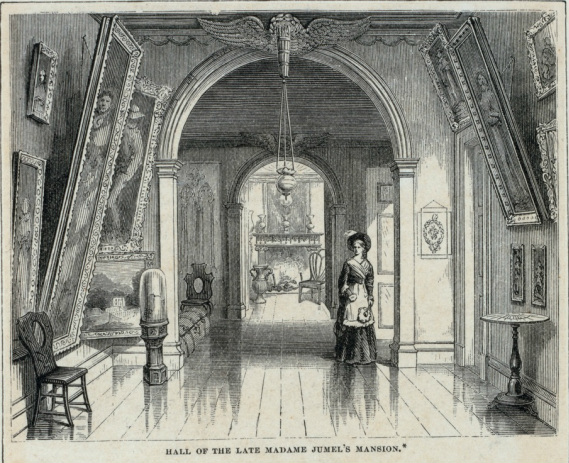 An engraving of the hallway of the Morris-Jumel Mansion, published in 1875.