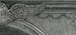Detail of an engraving showing the wallpaper at the Morris-Jumel Mansion in the 19th century.