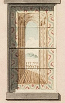 Design for a painted blind for a house in New York City, circa 1840.