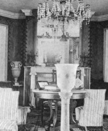 Photograph,, ca. 1887, of the octagon room at the Morris-Jumel Mansion.