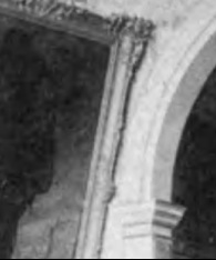 1887 photograph showing painted moldings in the hallway of the Morris-Jumel Mansion.