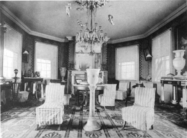 Photograph of the octagon room of the Morris-Jumel Mansion, ca. 1887.