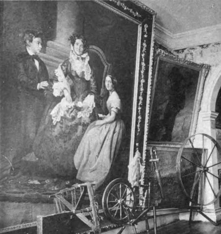 Paintings in the hallway of the Morris-Jumel Mansion, shown in a photograph from 1887.