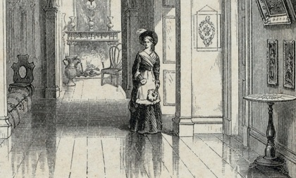 Detail of a 19th-century engraving of the hallway of the Morris-Jumel Mansion.