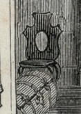 Side chair in the hallway of the Morris-Jumel Mansion, seen in a 19th-century engraving.